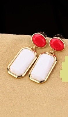 Red And White Stone Earring - Enigma