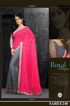 Pink And Grey Designer Saree - Fashion Fiesta