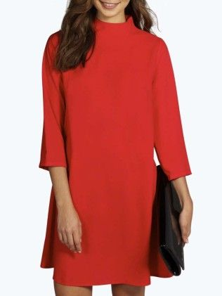 Red Stand Collar Loose Dress - She In