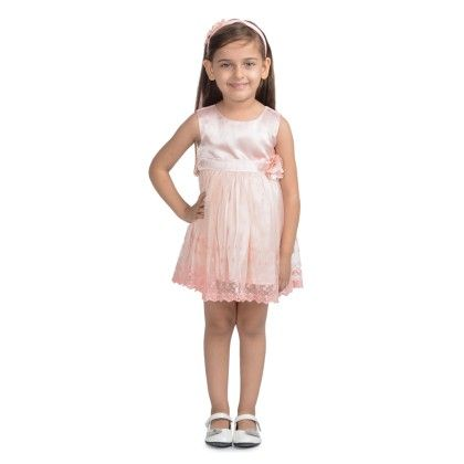 Peach Embroidered Lace Dress - Toy Balloon Kids