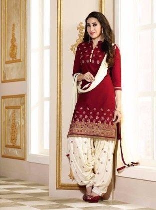 Patiala Red Dress Material - Fashion Fiesta