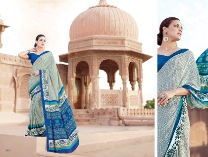 Floral Printed Saree Blue - Fashion Fiesta