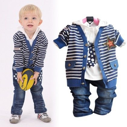 Blue Stripe Boy's 3 Piece Set - Lil Mantra