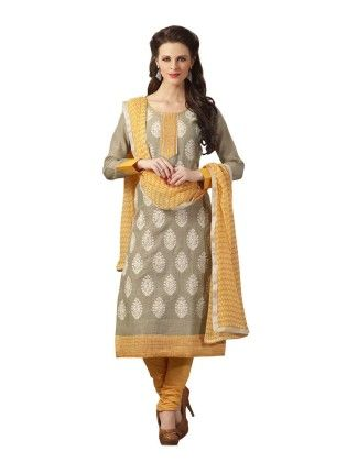Grey Embroideried Dress Material - Touch Trends Ethnic - 190021