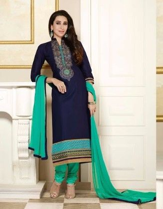 Blue Straight Suit Dress Material -1 - Fashion Fiesta