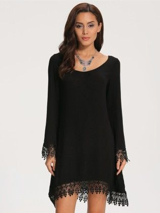 Black Long Sleeve Lace Loose Dress - She In
