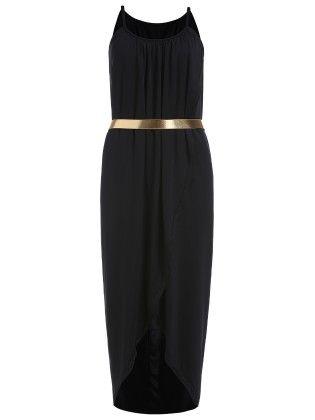 Black- Spaghetti Straptulip Dress - She In
