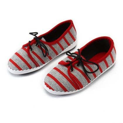 Shos With Stripe And Lace-red - Gift Shoes