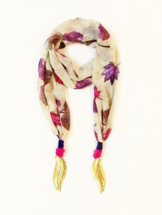 Georgette Ivy Leafs Print Off-white Jewelled Scarf - Lime