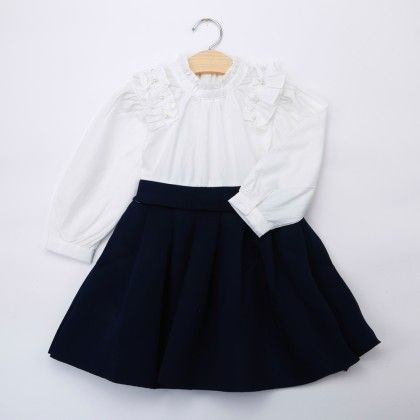 White And Blue Full Sleeves Dress - Bella