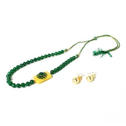 Green Necklace With Ear Rings - Latitude - The Design Studio