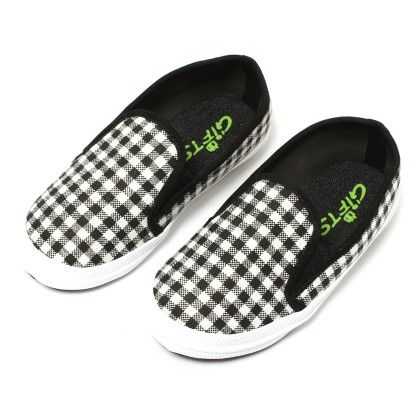 Black And White Checks Shoes - Gift Shoes