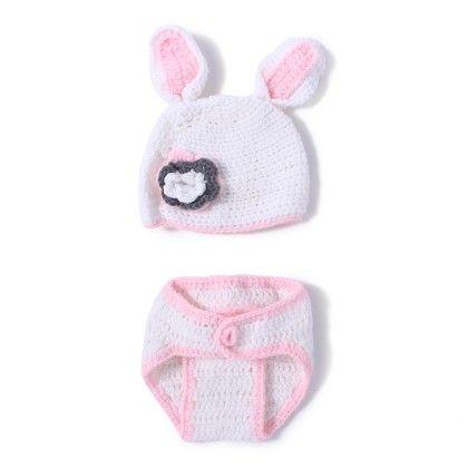 Newborn  Baby White Rabbit Photoprop Handmade Crochet Cap With Diaper Cover - NeedyBee