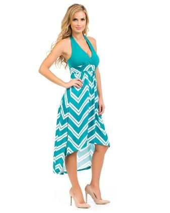 Hi-lo Halter Maxi Dress-teal - Xcel Couture