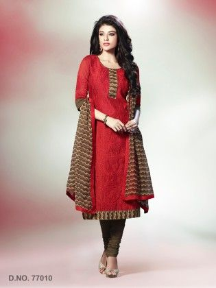 All Over Resham Thread Work With Printed Dupatta Red - Touch Trends Ethnic