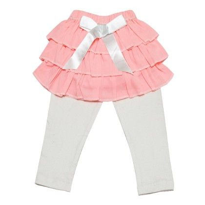 Pink Frilly Satin Skirt For Baby Girls With Ribbon Bow With Leggings For Girls - D'chica