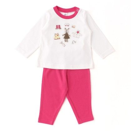 White/pink Teddy With Cap, Boots, Print, Full Sleeves Set - ZERO