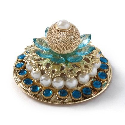 Blue Battery Operated Diyas With Golden Emblishment & Pearls - Sugar Candy