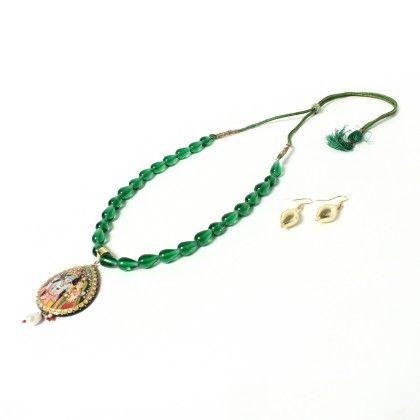 Krishna Green Necklace With Ear Rings - Latitude - The Design Studio
