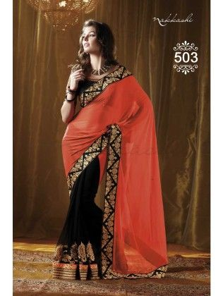 Orange And Black Designer Saree - Fashion Fiesta