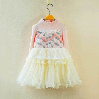 Princess Pretty Lace Embriodery Dress - Petite Kids