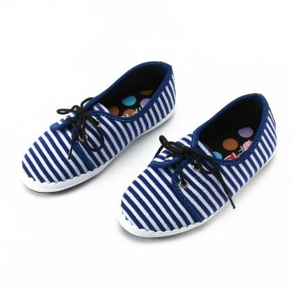 Shos With Thin Stripe And Lace-blue - Gift Shoes