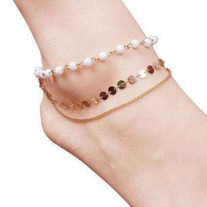 Charm Girls Lady Beach Multi Tassel Sequins Bead Anklet Chain Foot Jewelry  - White - Doinshop