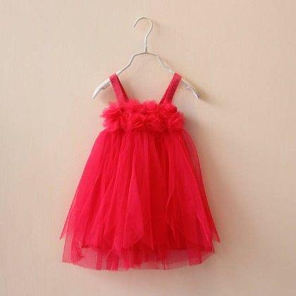 Red Sling Tulle Dress - Petite Kids