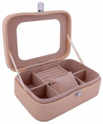"Travel Friendly ""caramel Cream"" Compact Jewellery Box Cum Organizer - S - Uberlyfe"