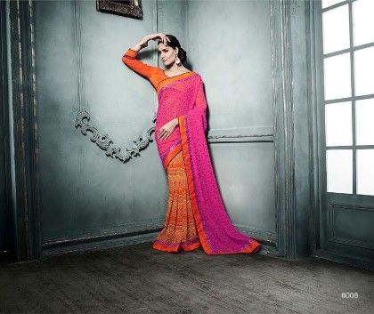 Pink Orange All Over Printed Saree - Fashion Fiesta