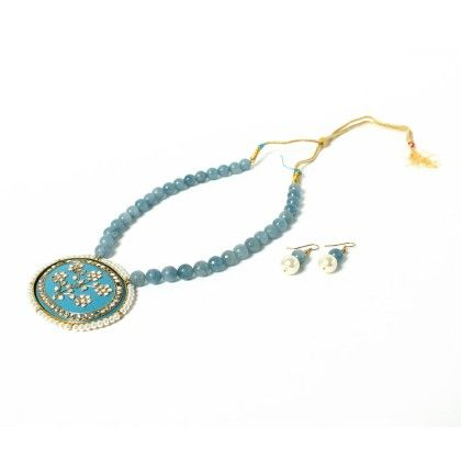 Blue Pendant Necklace With Ear Rings - Latitude - The Design Studio