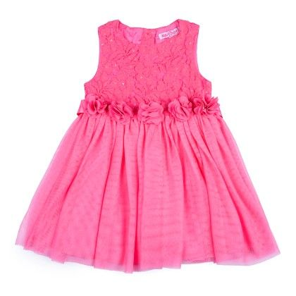 Lace And Net Gathered Dress With 3d Flowers - Pink - Nauti Nati