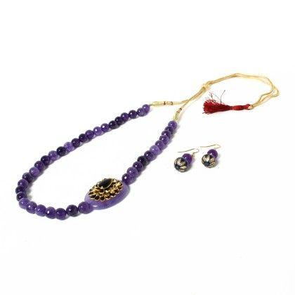 Stylishside Pendant Necklace Purple With Ear Rings - Latitude - The Design Studio
