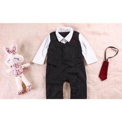 Black Striped Full Suit Party Romper Suit - Petite Kids