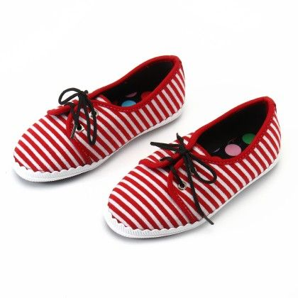 Shos With Thin Stripe And Lace-red - Gift Shoes