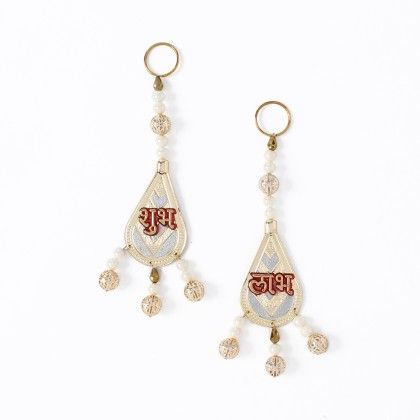 Set Of 2 Shubh Labh Motif Hanging With Pearls - Sugar Candy