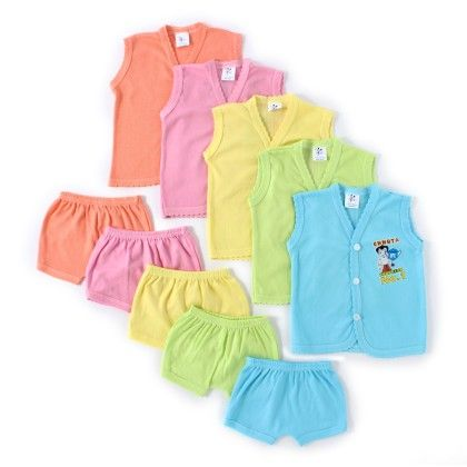 Set Of 5 Front Open Tops And Matching Shorts - Cool Baby