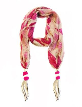 Chiffon Pink Leaf Printed Jewelled Scarf - Lime