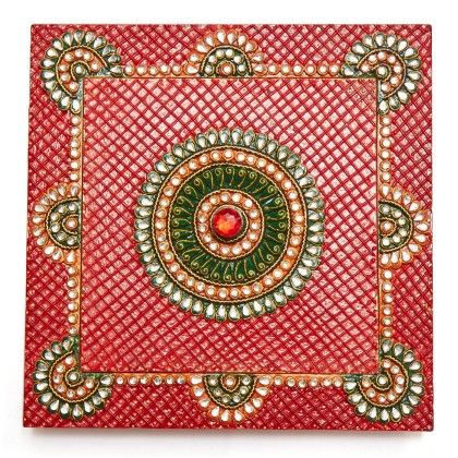 Square Red Dry Fruit Box - Color Crave