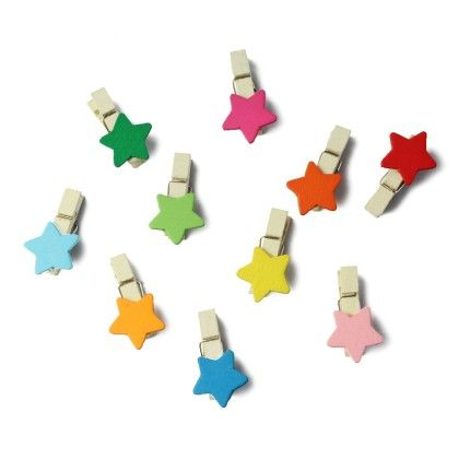 Star Wooden Paper Clips - Pack Of 10 Clips - Diya