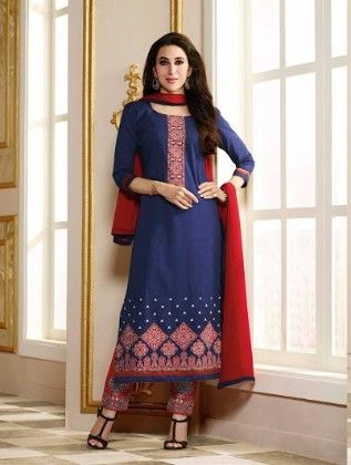 Blue Straight Suit Dress Material - Fashion Fiesta