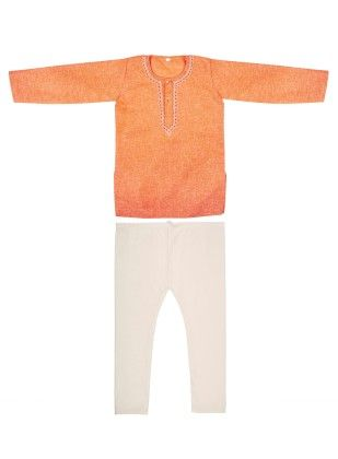 Kurta Pyjama Set With Embroidery - Orange - BownBee