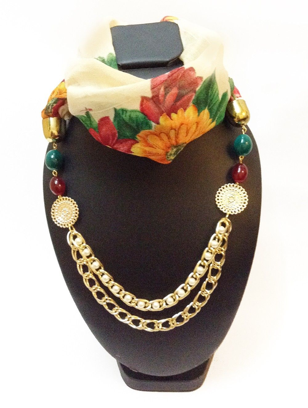 Raw Silk Off-white Butterfly And Red Floral Print Necklace Scarf - Lime