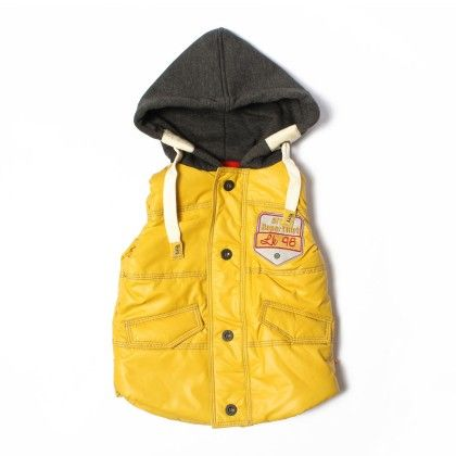 Yellow Havy S/l Quilted Jacket Front Opnig In Button Style - Little Kangaroos