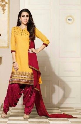 Patiala Yellow Dress Material - Fashion Fiesta