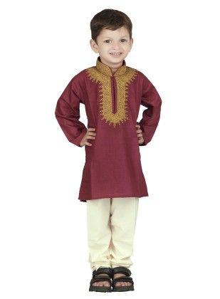Embroidered Kurta Pyjama Set - Maroon - BownBee