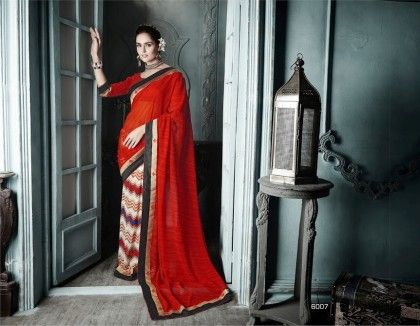 Red All Over Printed Saree - Fashion Fiesta