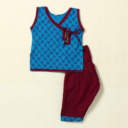 Girls Suit Printed(blue-pink) - Pocket Fashion