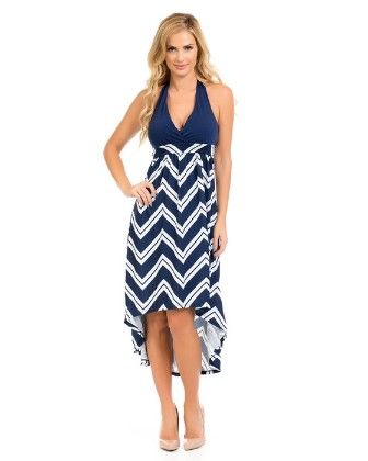 Hi-lo Halter Maxi Dress-navy - Xcel Couture