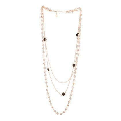 Voylla Double String Neckpiece With Pearl Beads, Black Stones